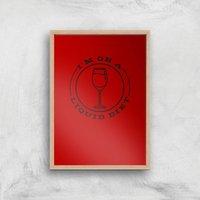 Liquid Diet Wine Art Print - A4 - Wood Frame - Alcohol Gifts