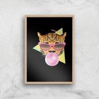 Bubblegum Leo Art Print - A4 - Wood Frame