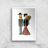 Tobias Fonseca Love Is Art - Frida Kahlo and Van Gogh Art Print - A4 - White Frame