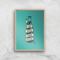 Sun Beer Sand Relax Art Print - A4 - Wood Frame - Beer Gifts