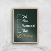 Champagne Tick Box Art Print - A4 - Wood Frame - Alcohol Gifts