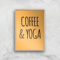 Coffee And Yoga Art Print - A4 - Wood Frame