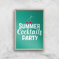 Summer Cocktails Party Art Print - A4 - Wood Frame - Alcohol Gifts