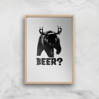 Beer Bear Deer Art Print - A4 - Wood Frame - Beer Gifts