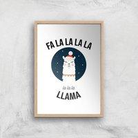 Fa La La La Llama Art Print - A4 - Wood Frame
