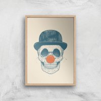 Balazs Solti Red Nosed Skull Art Print - A4 - Wood Frame