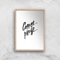 PlanetA444 Coffee Please... Art Print - A4 - Wood Frame