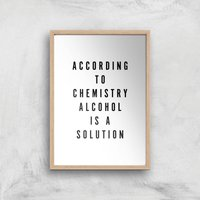 PlanetA444 Alcohol Is A Solution Art Print - A4 - Wood Frame - Alcohol Gifts