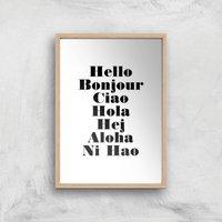 PlanetA444 Hello Art Print - A4 - Wood Frame