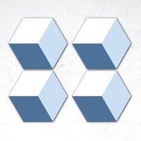 Blue Squares Hexagonal Coaster Set