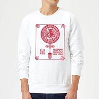 Happy Chinese New Year Red Sweatshirt - White - L - White