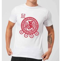 Year Of The Rat Decorative Cut Out Red Men's T-Shirt - White - L - White