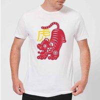 Chinese Zodiac Tiger Mens T-Shirt - White - 5XL - White