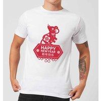 Happy New Year Symbol Red Men's T-Shirt - White - XL - White