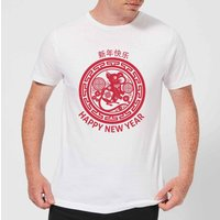Year Of The Rat Decorative Circle Red Men's T-Shirt - White - L - White
