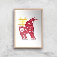 Chinese Zodiac Goat Giclee Art Print - A4 - Wooden Frame