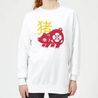 Chinese Zodiac Pig Women's Sweatshirt - White - L - White