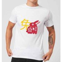 Chinese Zodiac Rabbit Mens T-Shirt - White - XXL - White