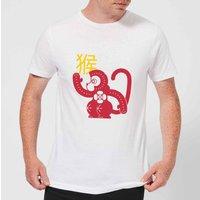 Chinese Zodiac Monkey Men's T-Shirt - White - M - White