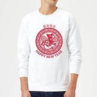 Year Of The Rat Decorative Circle Red Sweatshirt - White - XL - White