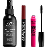 NYX Professional Makeup Vegan Bestsellers- Mascara, Setting Spray and Lipstick Set - Exclusive