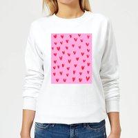Hand Drawn Red Heart Pattern Women's Sweatshirt - White - XS - White