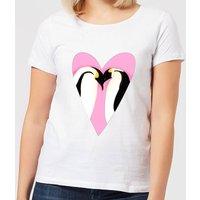 Love Heart Penguins Women's T-Shirt - White - XL - White