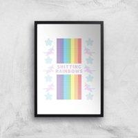 Shitting Rainbows Giclee Art Print - A3 - Wooden Frame