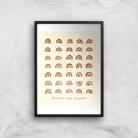 Poet and Painter Follow Your Rainbow Giclee Art Print - A4 - Wooden Frame