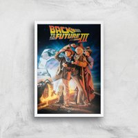 Back To The Future Part 3 Giclee Art Print - A2 - White Frame