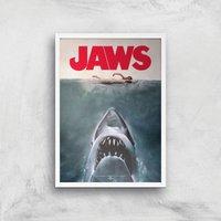 Jaws Giclee Art Print - A3 - White Frame