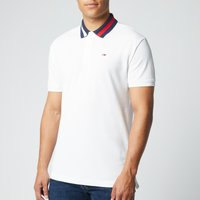Tommy Jeans Mens Flag Neck Polo Shirt - White - S