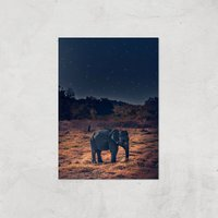 Elephant At Night Giclee Art Print - A4 - Print Only