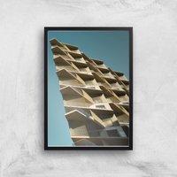 Distorted Buildings Giclee Art Print - A4 - Black Frame