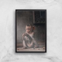 Baby Monkey Giclee Art Print - A3 - Black Frame - Baby Gifts