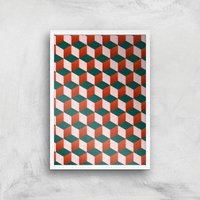 Stacking Cubes Giclee Art Print - A3 - White Frame