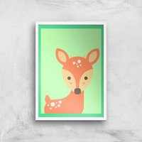 Sweet Deer Giclee Art Print - A3 - White Frame
