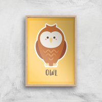 This Is A Owl Giclee Art Print - A2 - Wooden Frame