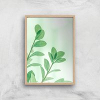 Washed Out Leaves Giclee Art Print - A4 - Wooden Frame