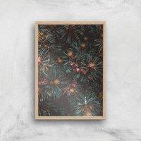 Flowers Like Fire Works Giclee Art Print - A2 - Wooden Frame