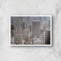 City Scape Giclee Art Print - A4 - White Frame