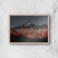 Peeking Moon Giclee Art Print - A4 - Wooden Frame
