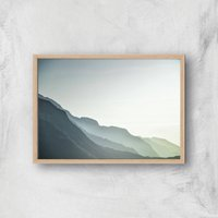 Pale Mountains Giclee Art Print - A4 - Wooden Frame