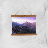 Lilac Mountains Giclee Art Print - A4 - Wooden Hanger - Lilac Gifts