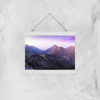Lilac Mountains Giclee Art Print - A4 - White Hanger - Lilac Gifts