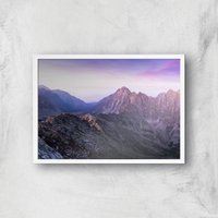Lilac Mountains Giclee Art Print - A2 - White Frame - Lilac Gifts