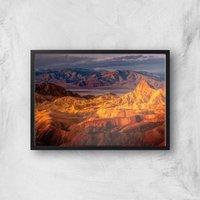 Shades Of Orange Mountains Giclee Art Print - A4 - Black Frame
