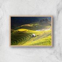 Mountain Side Farm Giclee Art Print - A2 - Wooden Frame