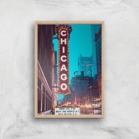 Chicago Night Life Giclee Art Print - A4 - Wooden Frame