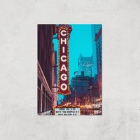 Chicago Night Life Giclee Art Print - A3 - Print Only